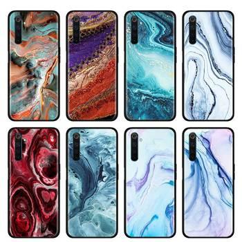 Перейти на Алиэкспресс и купить Тонкий чехол для телефона Realme X50 Pro, чехол для телефона с изображением бирюзового камня и мрамора для телефона 10 10A, X2, X2Pro, XT, C3, 5i, 6i, 6, 5 Pro, Narzo, 10, ...