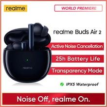 Realme botões ar 2 anc wirelessbluetooth fone de ouvido 25hrs reprodução total 88ms super baixa latência 10mm hi-fi baixo impulso estoque real