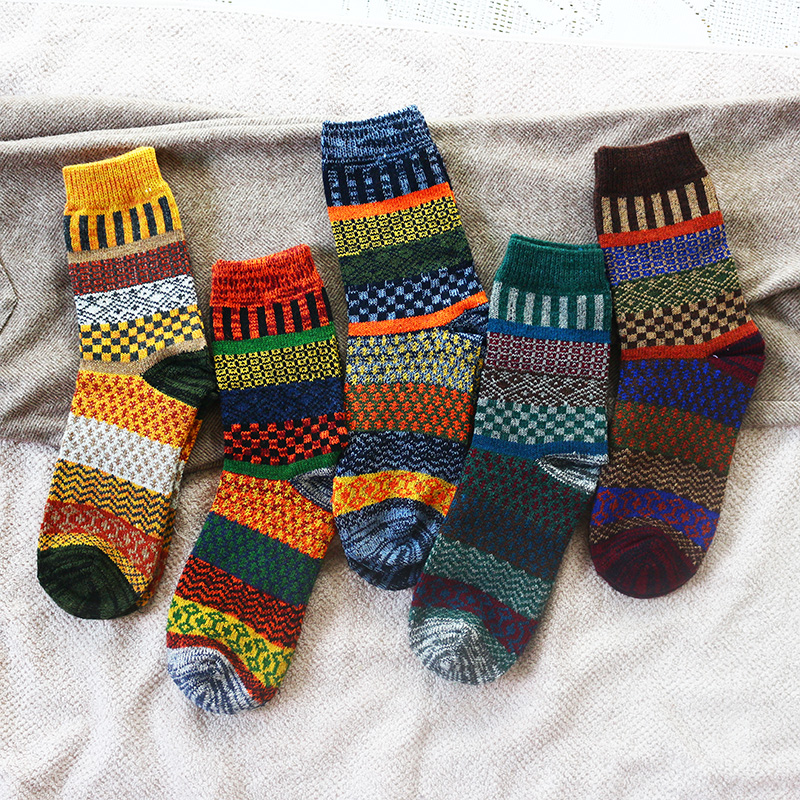 Winter new men s thick warmth high quality Harajuku retro fashion casual wool socks High quality