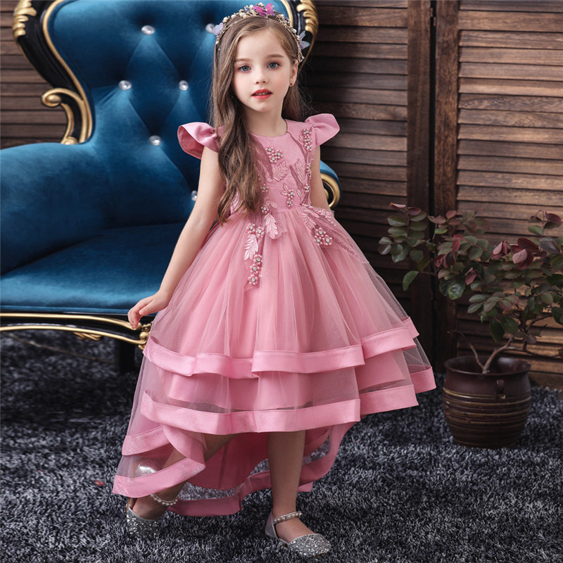 Kids Baby Girls Party Dress Wedding Elegant  Dress For Tail Show Birthday Industry Embroidery Dresses For Girls Clothes