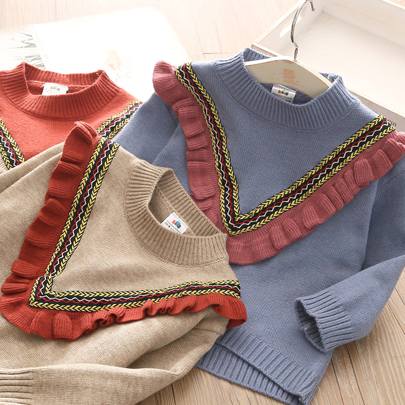 2020 Autumn Spring 2 3-10 12 Years Children'S Clothing O-Neck Knitted Pullover Cotton Ruffles Patchwork Kids Baby Girls Sweater