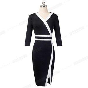Image 2 - 素敵な 永遠にヴィンテージ黒と白のパッチワークオフィスワークvestidosビジネスパーティーボディコンエレガント女性秋ドレスB563