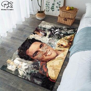 Elvis Presley Shaggy Fluffy Anti-Skid Area Floor Mat 3D Rug Non-slip Mat Dining Room Living Room Soft Bedroom Mat Carpet ST6 1