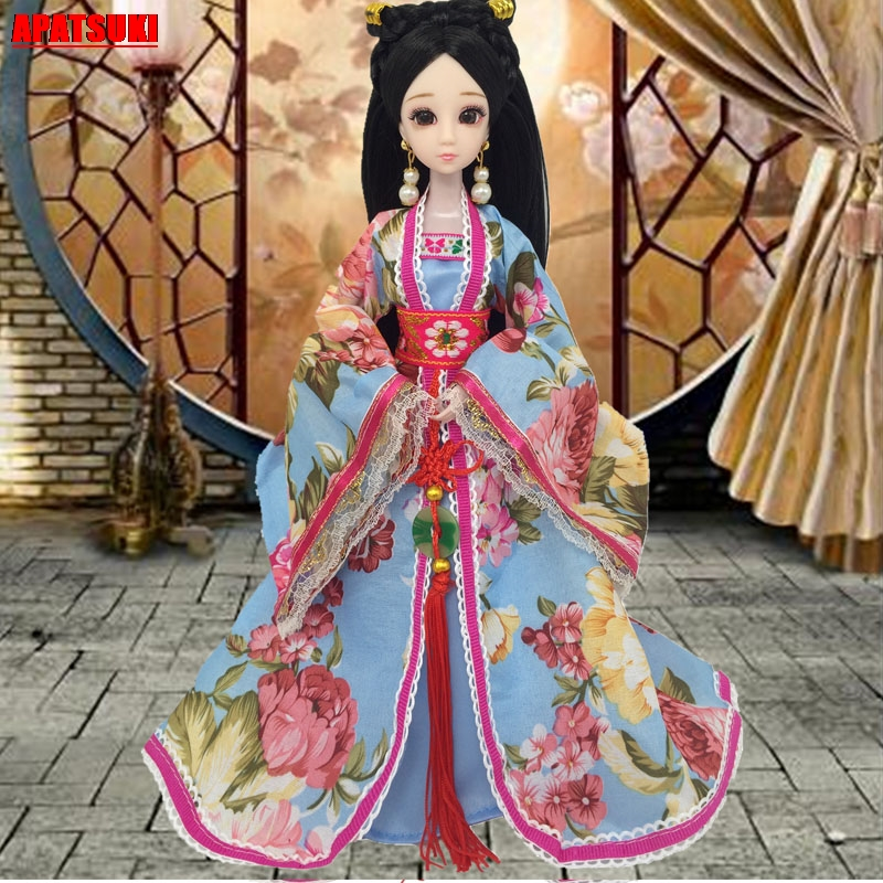 Chinese Style Ancient Dress For Barbie Doll 1:6 Doll Clothes For COSPLAY Costume Party Fairy Dress For 1/6 Doll Accessories Blue