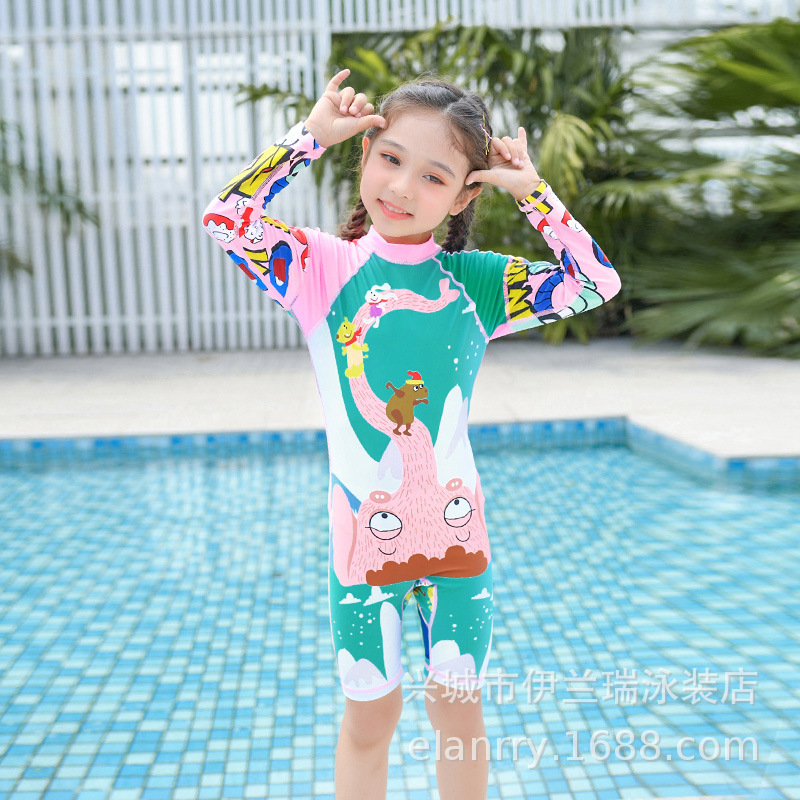 2019 New Style KID'S Swimwear Girls Korean-style Cartoon Baby Cute Tour Bathing Suit GIRL'S One-piece Hot Springs Swimming Suit