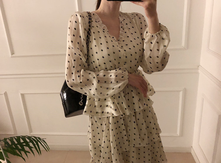 H81e08f82a0684e8fa90aafab804a8c60O - Autumn V-Neck Long Sleeves Satin Polka Dots Multi-Layers Midi Dress