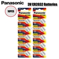 Кнопочная батарея PANASONIC CR2032 10 шт./лот, Оригинальная батарея 3 в, литиевые батареи CR 2032 для часов, игрушек, компьютера, калькулятора, управления