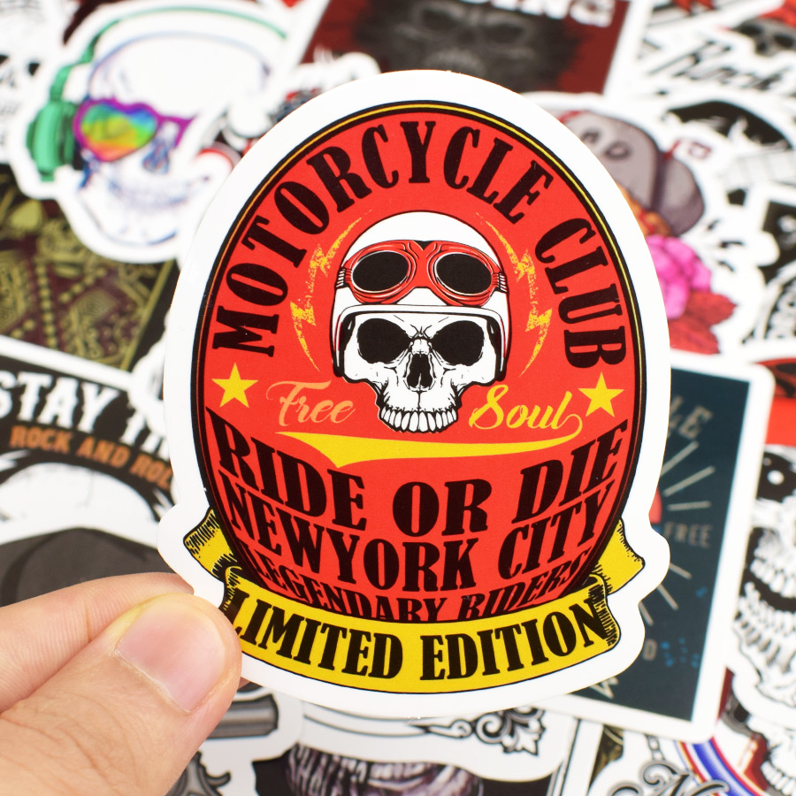 50 PCS Skeleton Punk Stickers Packs Skull Rock Graffiti DIY Stickers for Motorcycle Skateboard Guitar Car Bicycle Laptop Luggage