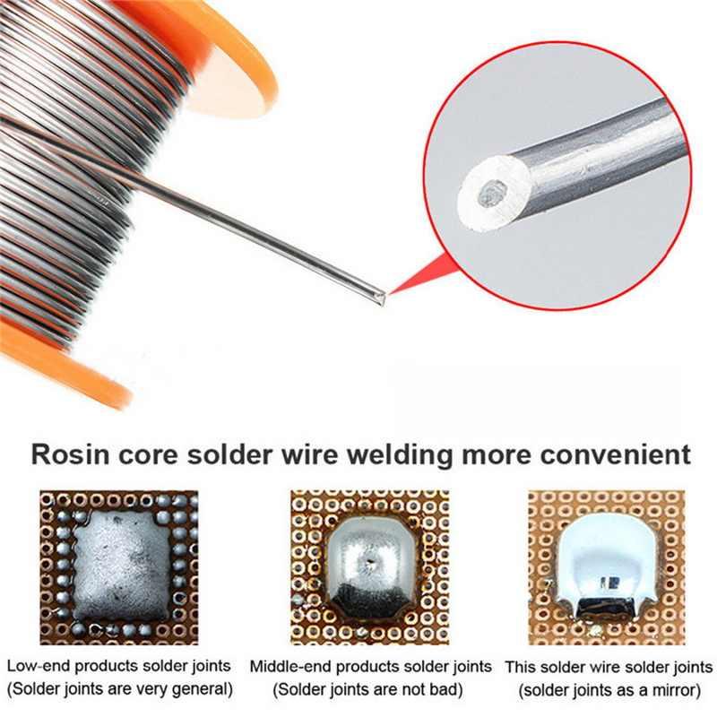 0.5/0.6/0.8/1.0mm 50/100g 용접 와이어 롤 플럭스 2.0% 45ft 주석 납 주석 와이어 용융 로진 코어 솔더 납땜 와이어 롤