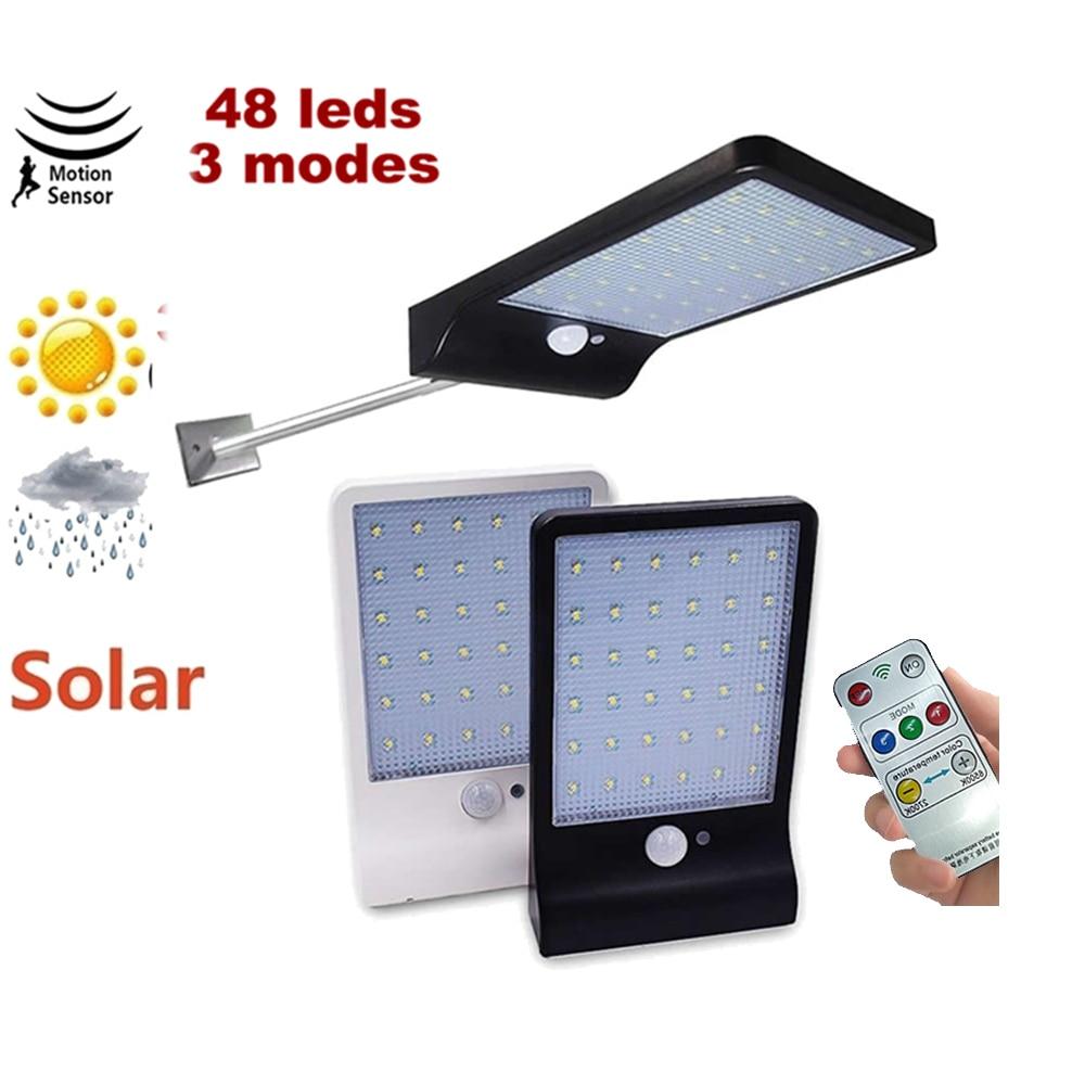 Solar Power 48 Led Solar Light PIR Motion Sensor 7 Mode White Wall Garden Light LED Street Lamp With Remote Controller Remote
