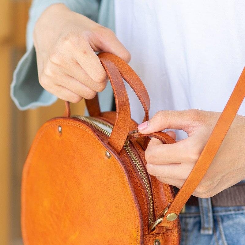 EUMOAN ручная кожаная маленькая круглая сумка, Ретро Милая художественная круглая коробка в форме сумки на плечо - 3