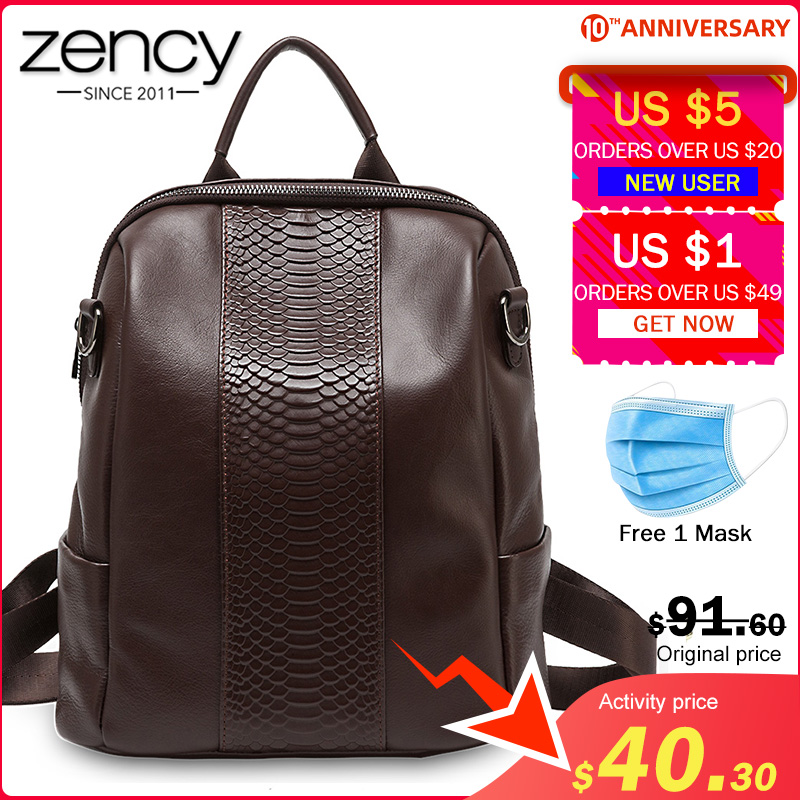 Zency Crocodile Pattern Women Backpack Made Of Genuine Leather Large Capacity Travel Bag High Quality Schoolbag Knapsack Black