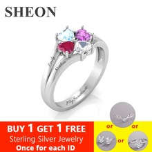 SHEON Personalized 925 Sterling Silver Engraved 4 Heart-Shaped Birthstones Ring Custom Jewelry Mothers Day Gift