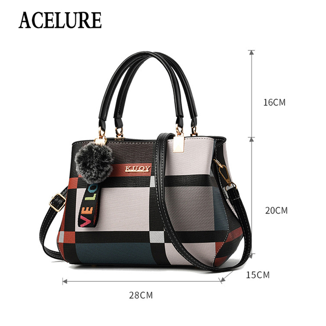 ACELURE New Casual Plaid Shoulder Bag Fashion Stitching Wild Messenger Brand Female Totes Crossbody Bags Women Leather Handbags 1