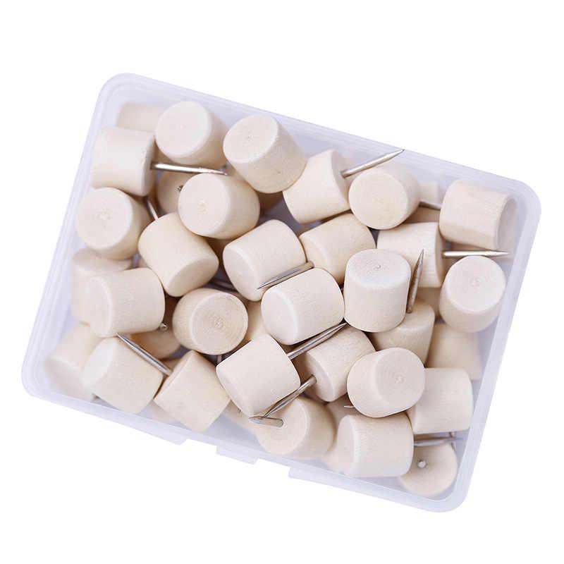 50PCS Hout Push Pins Vierkante Houten Duim Kopspijkers Hout Hoofd Pinnen Gebruikt voor Kurk Boards Kaarten of Bulletin Boards met Doos