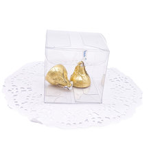 50 Pieces/lot Clear PVC Square Gift Boxes Favor Candy Packing Souvenir Box Transparent Chocolate Bags Wedding Party Supply(China)