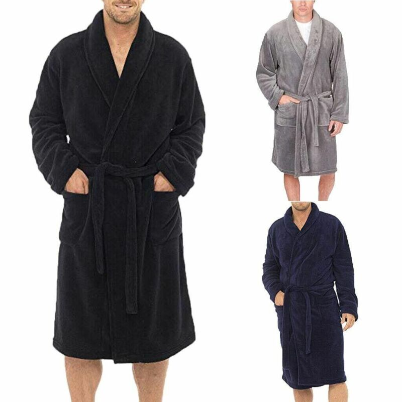 2020 Hot Sale Men Solid Color Fleece Robe Winter Warm Waistband Male Shawl Collar Bathrobe Sleepwear Men Sexy Winter Robes