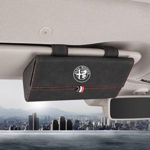 Osłona przeciwsłoneczna do samochodu etui na okulary podkładki pod szklanki klip wielofunkcyjny skórzany Organizer box dla Alfa Romeo 147 156 159 Giulietta Stelvi