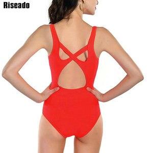 Image 4 - Costume da bagno intero Riseado Sport con cerniera costumi da bagno donna 2021 costume da bagno con fasciatura incrociata costume da bagno competitivo da spiaggia tagliato