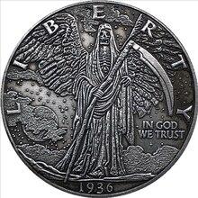 1936 vintage coin grim reaper coin gift sickle grim reaper coin souvenir lucky coin