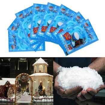 Sztuczny śnieg ozdoby płatki śniegu ozdoby choinkowe fałszywe magiczne przyjęcie na sztuczne na ślub sztuczny śnieg dziecko zagraj w domu tanie i dobre opinie Strong-Toyers CN (pochodzenie) Proszku śniegu Artificial artificial snow Absorbent resin About 9*6 5cm Christmas white