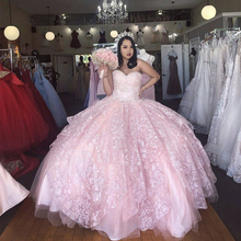 Ball-Gown Quinceanera-Dress Sequined Sweetheart Party Vestidos-De-15-Aos Pink Princess