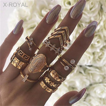 X-ROYAL 13Pcs/set European Vintage Style Boho Women Finger Rings English Letters Ethnic Zircon Crystal Knuckle Rings Suit 2019