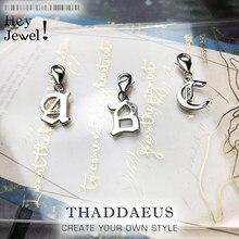Pendentif lettres porte-bonheur ABC en argent Sterling 925 véritable, bijoux à la mode, cadeau pour femmes et hommes, collier