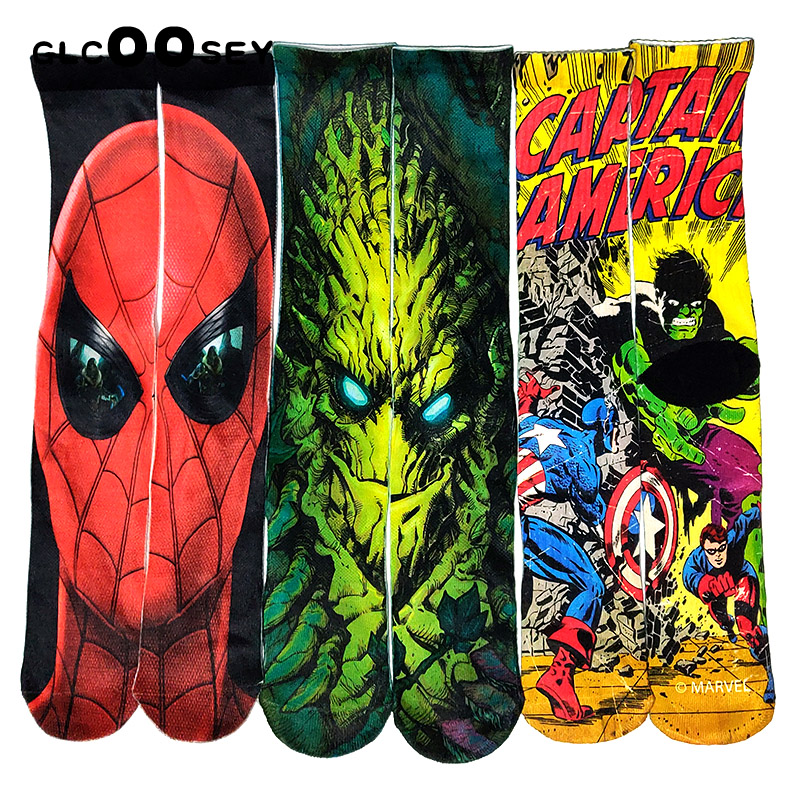 Spider-Man Hulk Captain America Prints Men Socks Fashion Funny 3D Printed Socks Oil Painting Women Compression Socks Lengthen