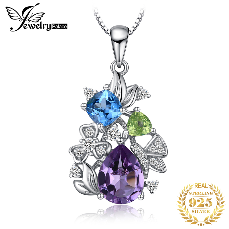 Flower Natural Amethyst Peridot Topaz Pendant Necklace 925  Sterling Silver Gemstones Statement Necklace Women Without  ChainNecklaces