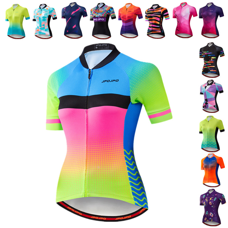 JPOJPO Women's Cycling Jersey Summer MTB Bike Jersey Shirt Mountain Road Bicycle Tops Team Cycling Wear Maillot Ciclismo Mujer
