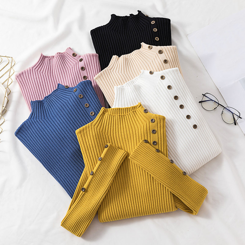 Winter Knitted Turtleneck Women Button Solid Sweaters And Pullovers Long Sleeve Korean Sueter Mujer Tops Casual Regular Jumper