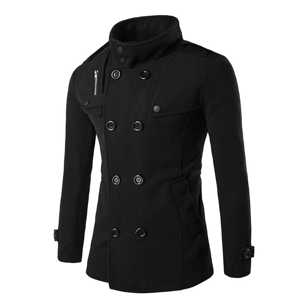 2017 New Autumn Winter Men's Woolen Coat Double-breasted Zipper Design Business Man Woolen Cloth Warmth Overcoat Windbreaker