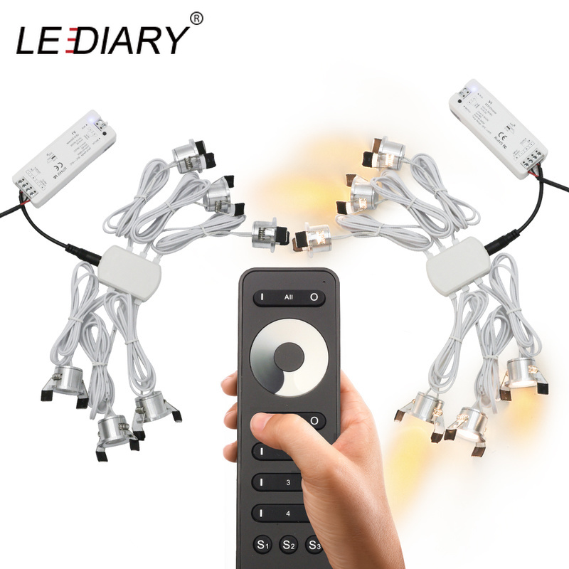 LEDIARY 12V Mini Spot Led Downlight Dimmable 24 Lamps Four Control Memory Remote Can Be Set Driver 6/12 Lamps Single Controller