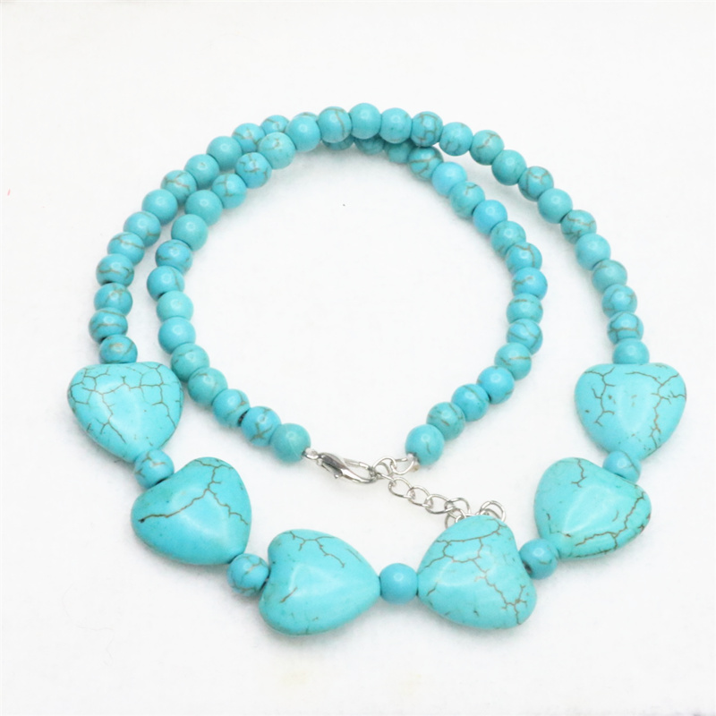 hot free Shipping new 2014 Fashion Style diy 18 Howlite calaite Heart Pendant Beads Necklace MY5199 image