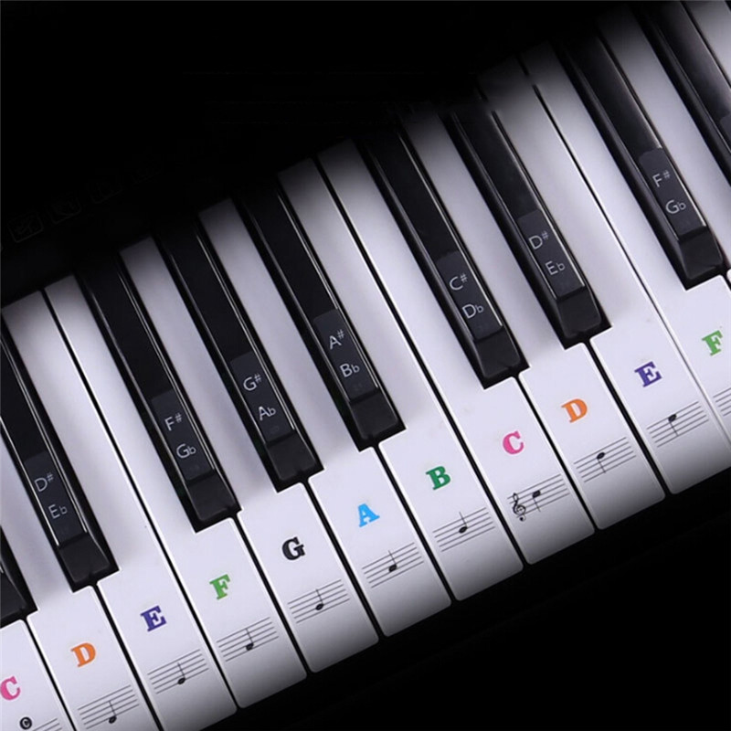 Electronic Keyboard Piano Sticker For Beginners Piano Practice Piano Sticker Transparent Piano Keyboard Sticker Removable