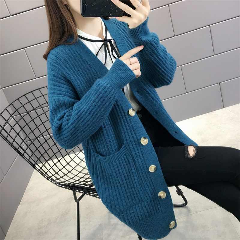 5160 (Memiliki 1 Peringkat No 1) the New Paragraf Single-Breasted Tumbuh Di Musim Gugur Memakai Cardigan Sweater Saku-58