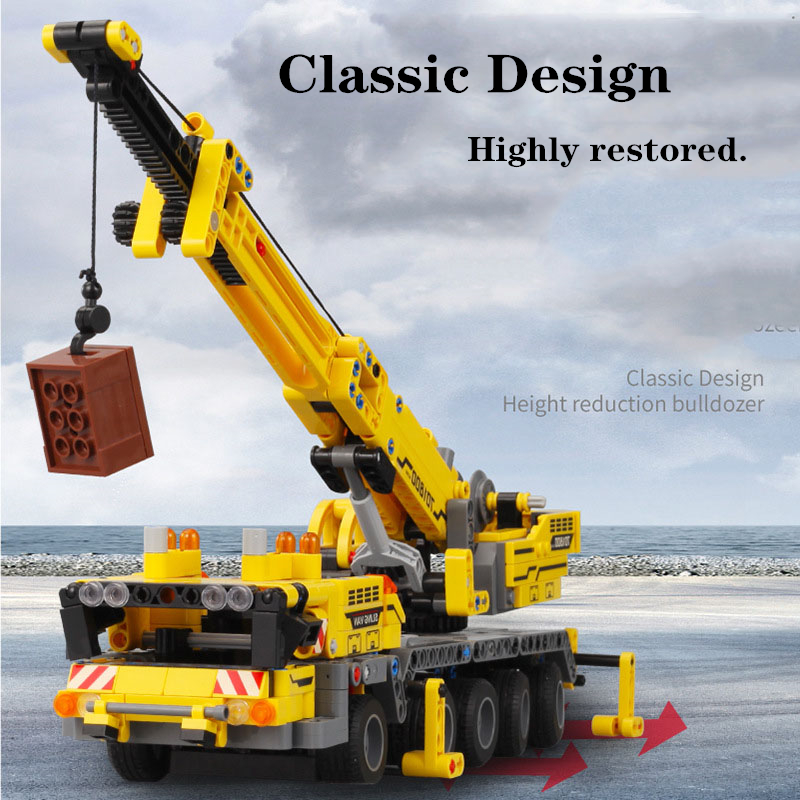 Diy 665Pcs Technic Machine Crane Car Learning Building Blocks Brick Education Toys For Children Kids Gifts 1