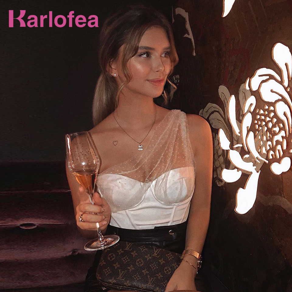 Kealofea Lady Girl Elegant Padded Bustier Crop Tops Polka Dot Tulle One Shoulder Corset Tank Top Sexy Sheer Celebrity Party Wear