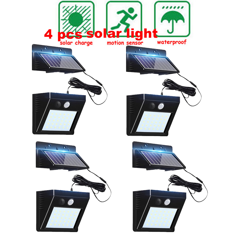 2/4pcs 100/56/30 LED Solar Street Light Auto PIR Motion Sensor Solar Garden Wall Lamp For Outdoor Waterproof Lighting Split Moun