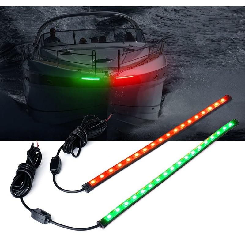 2*30CM LED LED Red Green Navigation Light Strip Bar for Marine Boat Bow Vessel