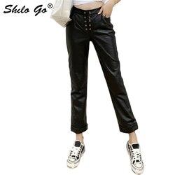 Pantaloni di Cuoio genuino Doppio Petto Anteriore A Vita Alta Pantaloni di pelle di Pecora Pantaloni Diritti Delle Donne Autunno Inverno casual Minimalista