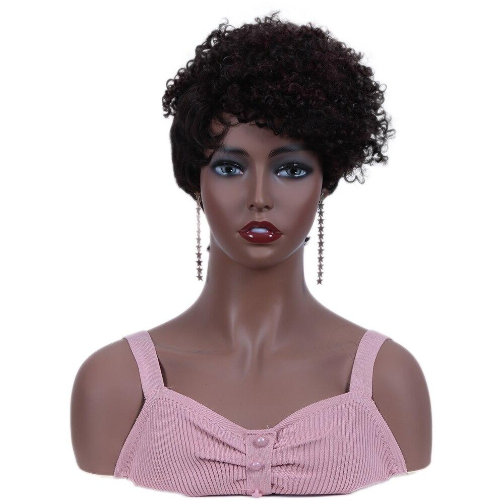 Rebecca Afto Barato Curto moda Kinky Curly Perucas Para As Mulheres Negras Peruca de Cabelo Humano Brasileiro Marrom DYF2/99J # cor Preço de Atacado
