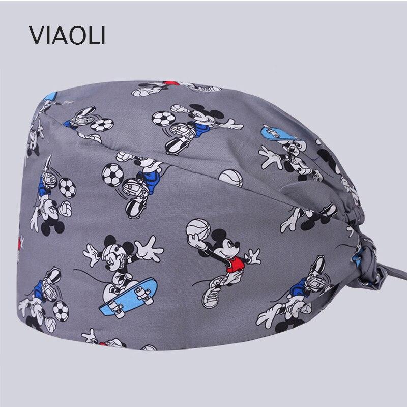 Design Pet Doctor Hat Scrub Caps Hospital Medical Hats Print In Black Tieback Elastic Section 100% Cotton Doctor Hat Pharmacy