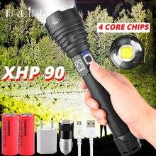 Mais poderoso xhp90 led lanterna usb zoomable led tocha 3 modos lâmpada usando 18650 ou 26650 bateria recarregável para acampar