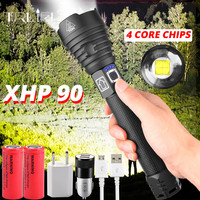 Most Powerful XHP90 250000LM Led flashlight Usb Zoomable led Torch 3 modes lamp 18650 or 26650 Rechargeable Battery for Camp