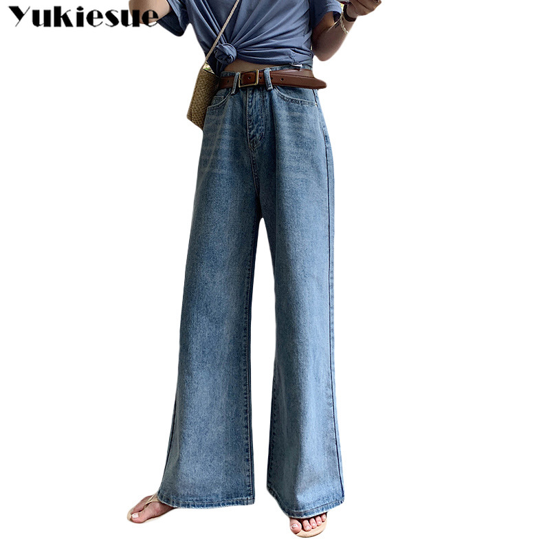 High Waist Women Denim Blue Jeans Trousers Plus Size 32 Femme Pantalon High Waisted Loose Wide Leg Pants Big Sizes 2019 New