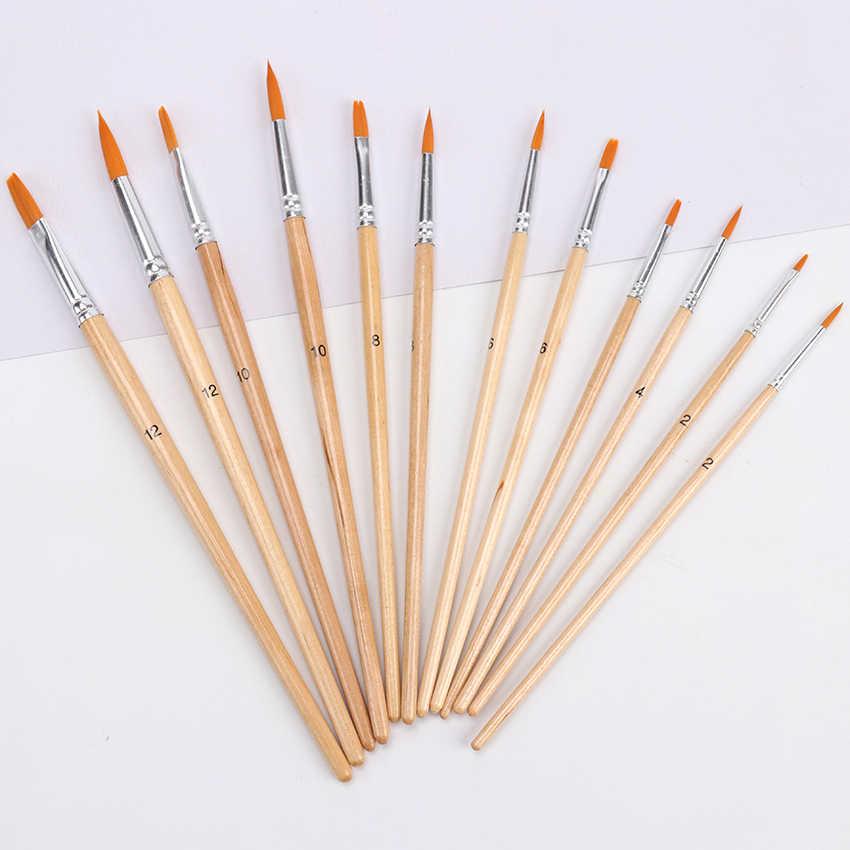 12 piezas de acuarela pintura cepillos de pelo de Nylon pintura cepillo variedad estilo de pintura de acrílico cepillo pluma pincel de suministros de arte