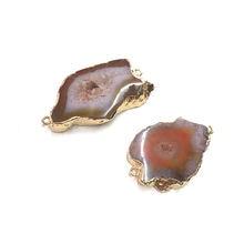 Кулон из натурального камня неправильной формы с двойным отверстием