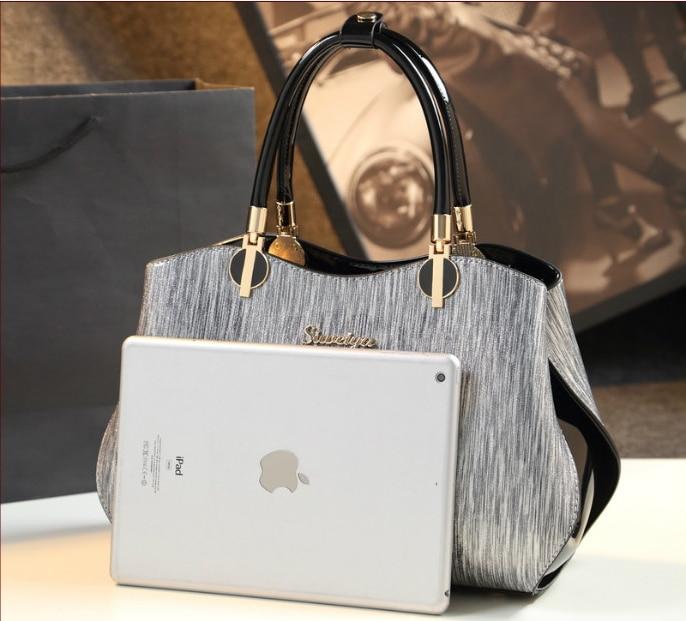 Nueva llegada bolsos de hombro de cojín sencillo de estilo coreano bolsos de mano de marca famosa bolso de mano de cuero de charol - 2